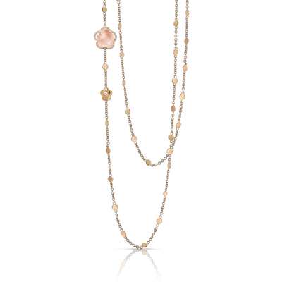 18k Rose Gold Bon Ton Necklace with Rose Quartz and Diamonds