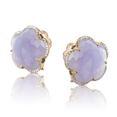 Rose gold earrings with blue chalcedony and diamonds
