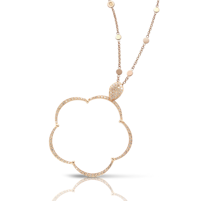 Rose gold necklace with white and champagne diamonds