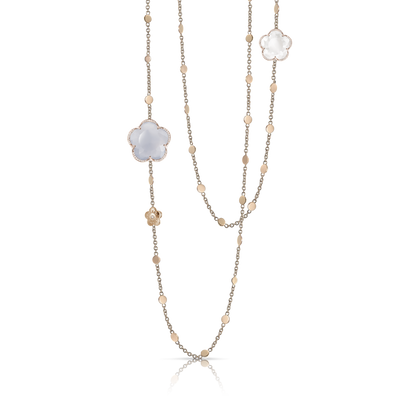 18k Rose Gold Bon Ton Necklace with Blue Chalcedony, Milky Quartz and Diamonds