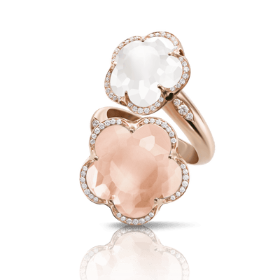 18k Rose Gold Bon Ton Ring with Rose Quartz, Milky Quartz and Diamonds