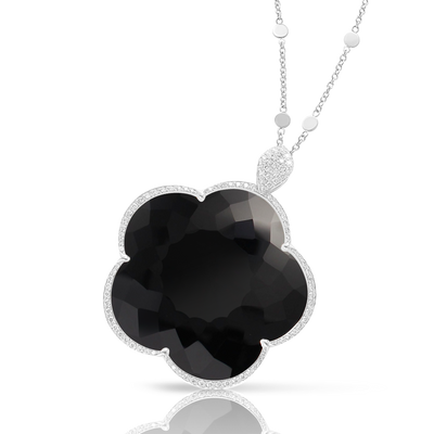 White gold necklace with onyx and white diamonds