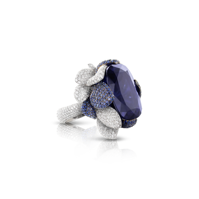 18k White Gold Giardini Vento Atelier Ring with Tanzanite, Blue Sapphire Pavé and Diamonds