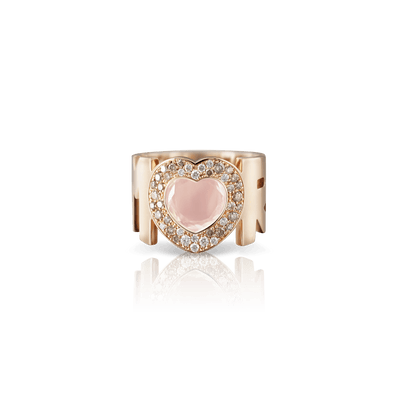 18k Rose Gold Amore Ring with Rose Quartz, White and Champagne Diamonds