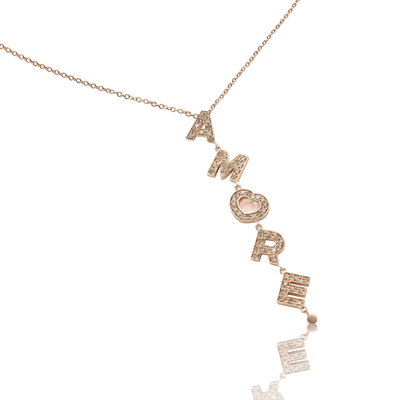 18k Rose Gold Amore Necklace with Rose Quartz, White and Champagne Diamonds