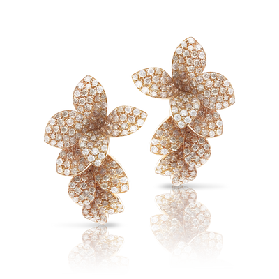 Rose gold earrings with white and champagne diamonds