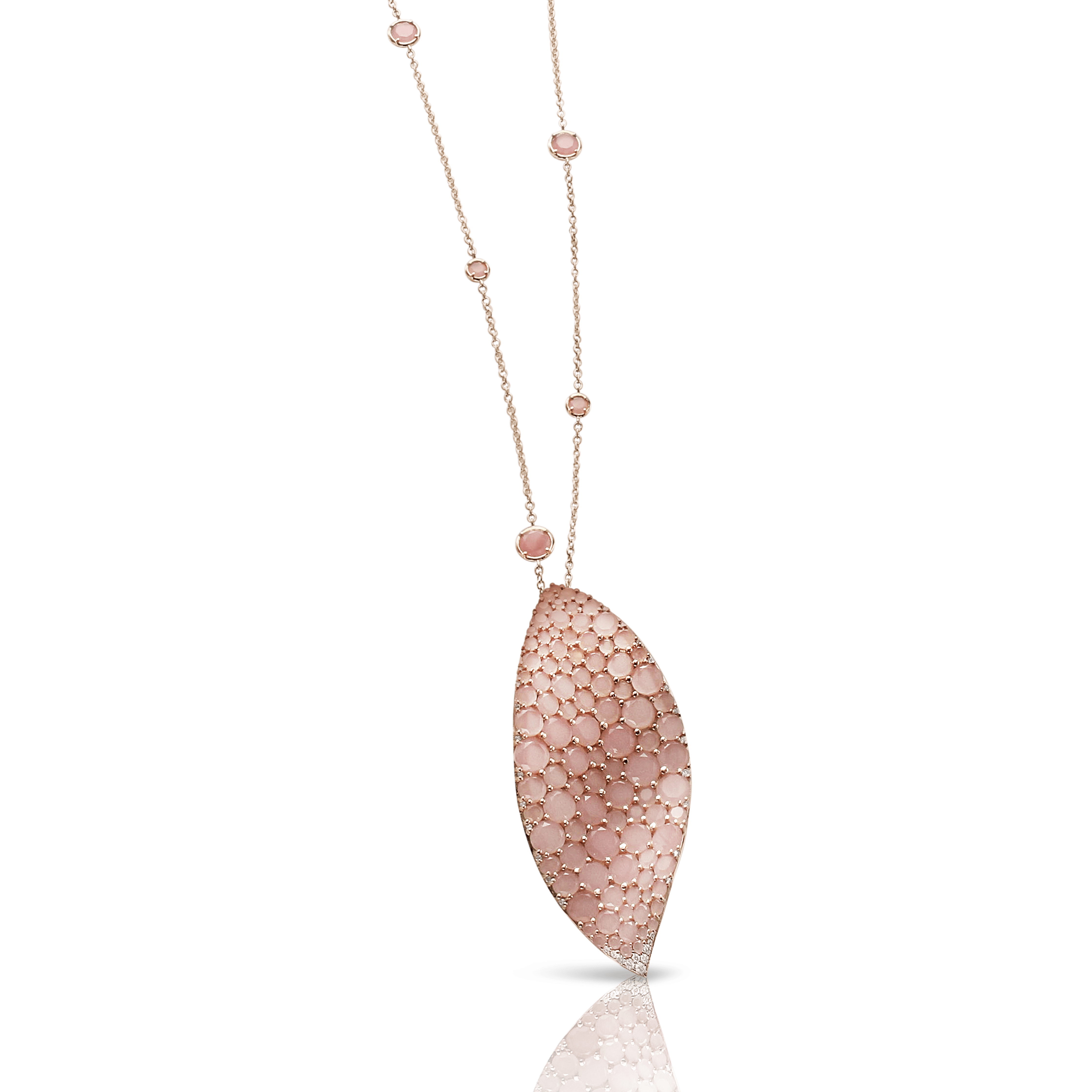 18k Rose Gold Lakshmi Necklace with Pink Chalcedony and Diamonds