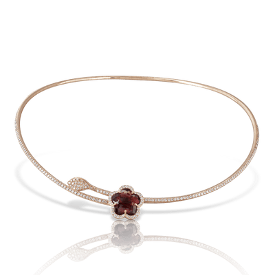 18k Rose Gold Je T'aime Necklace with Red Garnet, White and Champagne Diamonds