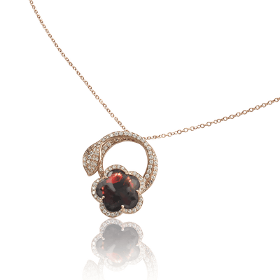 Rose gold necklace with red garnet, white and champagne diamonds