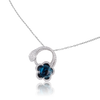 18k White Gold Je T'aime Necklace with London Blue Topaz and Diamonds