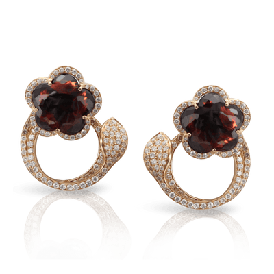 18k Rose Gold Je T'aime Earrings with Red Garnet, White and Champagne Diamonds