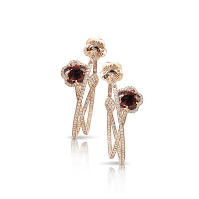 Rose gold earrings with red garnet, white and champagne diamonds