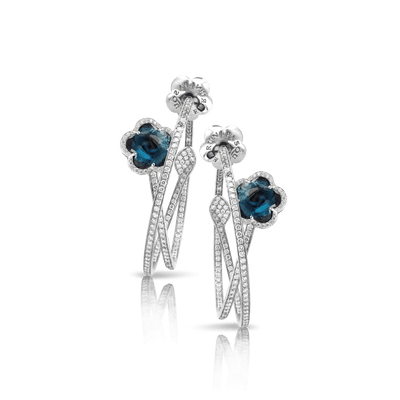 18k White Gold Je T'aime Earrings with London Blue Topaz and Diamonds