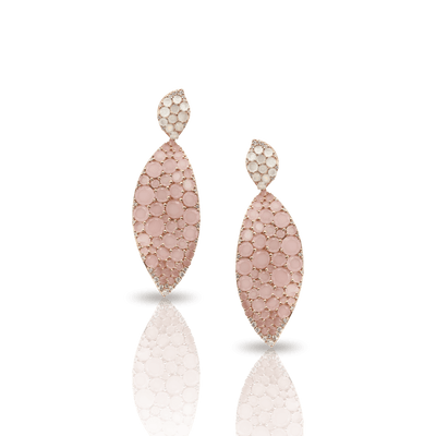 18k Rose Gold Lakshmi Earrings with Pink Chalcedony, Moonstone and Diamonds