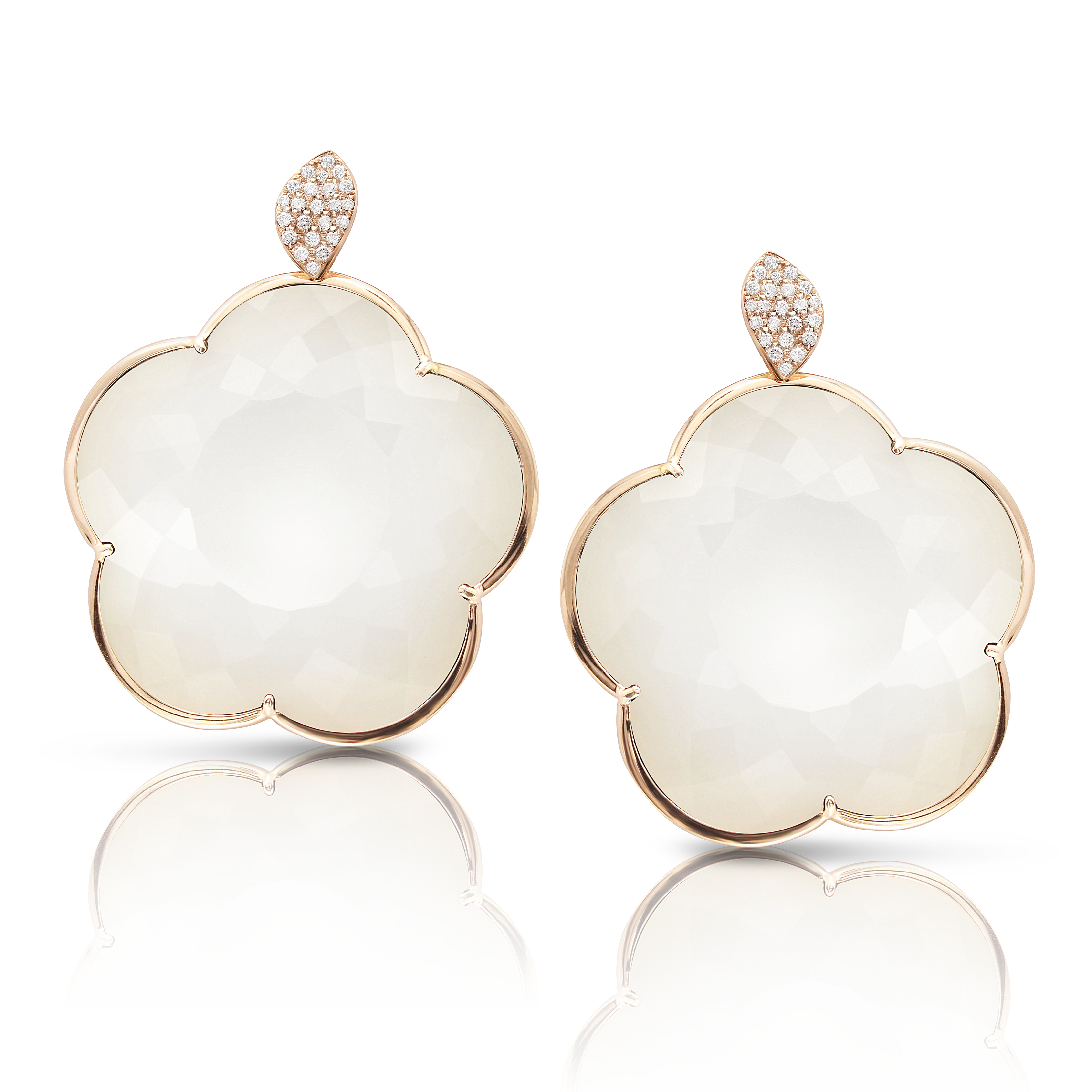 18k Rose Gold Ton Joli Earrings with White Agate, Mother of Pearl and Diamonds