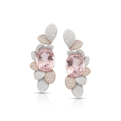 White rose gold earrings with Morganite and diamonds