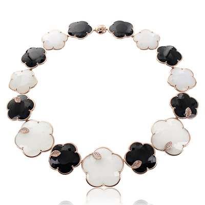 Rose gold necklace with white agate, mother of pearl, onix, white and champagne diamonds