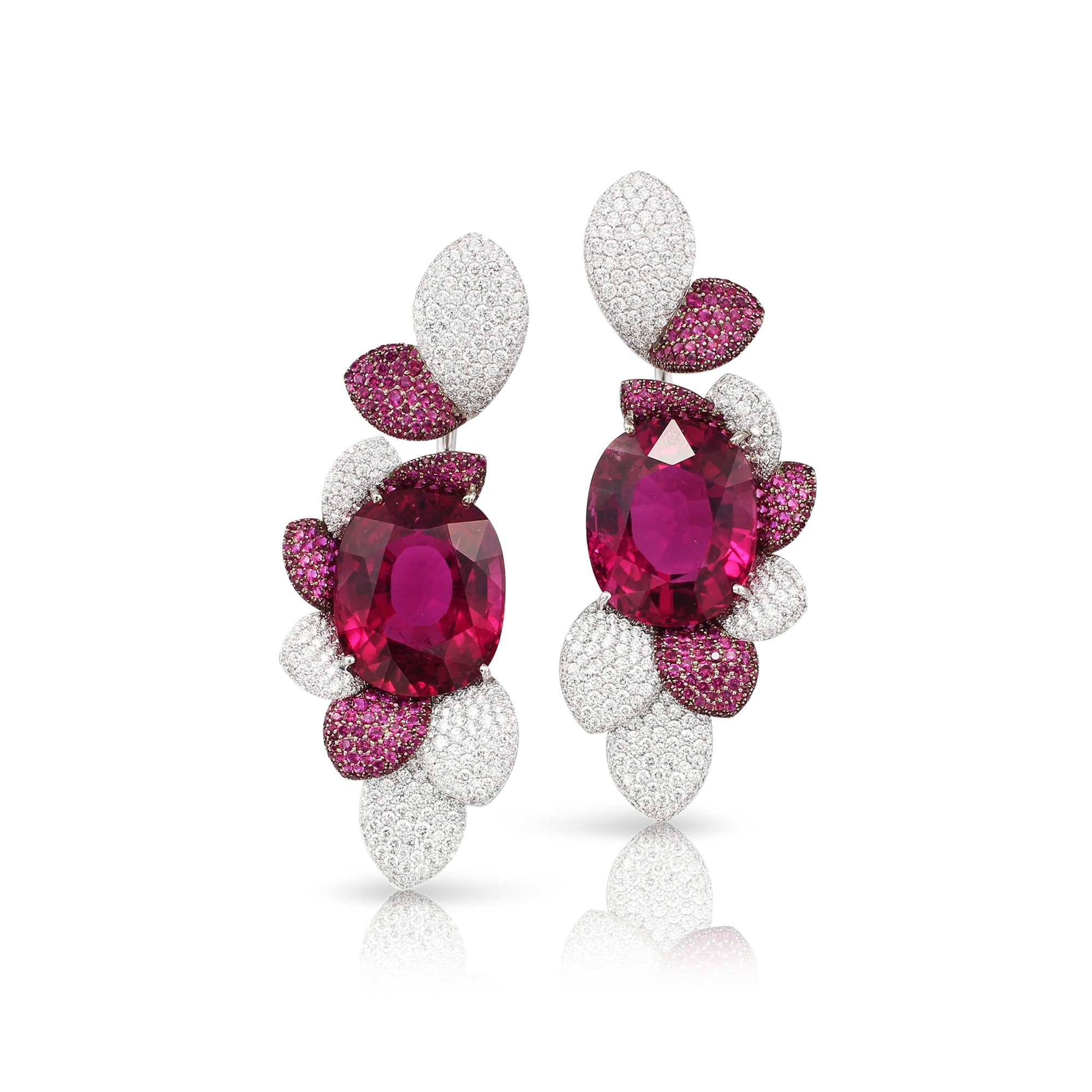 18k White Gold Giardini Vento Atelier Earrings with Rubellite, Rubies and Diamonds