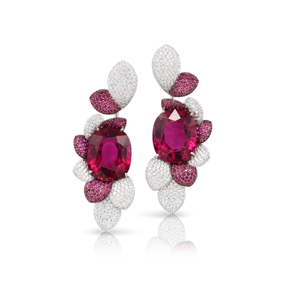 White gold earrings with rubellite, rubies and diamonds