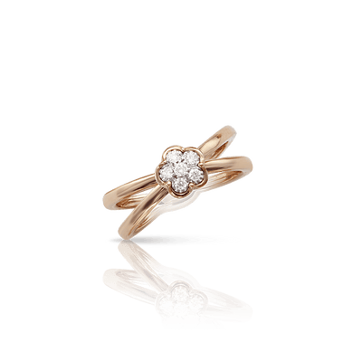 White and rose gold ring and diamonds