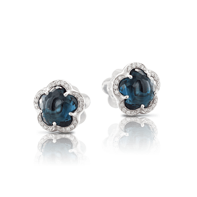 White gold earring with London blue topaz and white diamonds