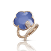 18k Rose Gold Joli Ring with White Agate and Lapis Lazuli Doublet, White and Champagne Diamonds