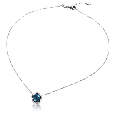 White gold necklace with London blue topaz and white diamonds