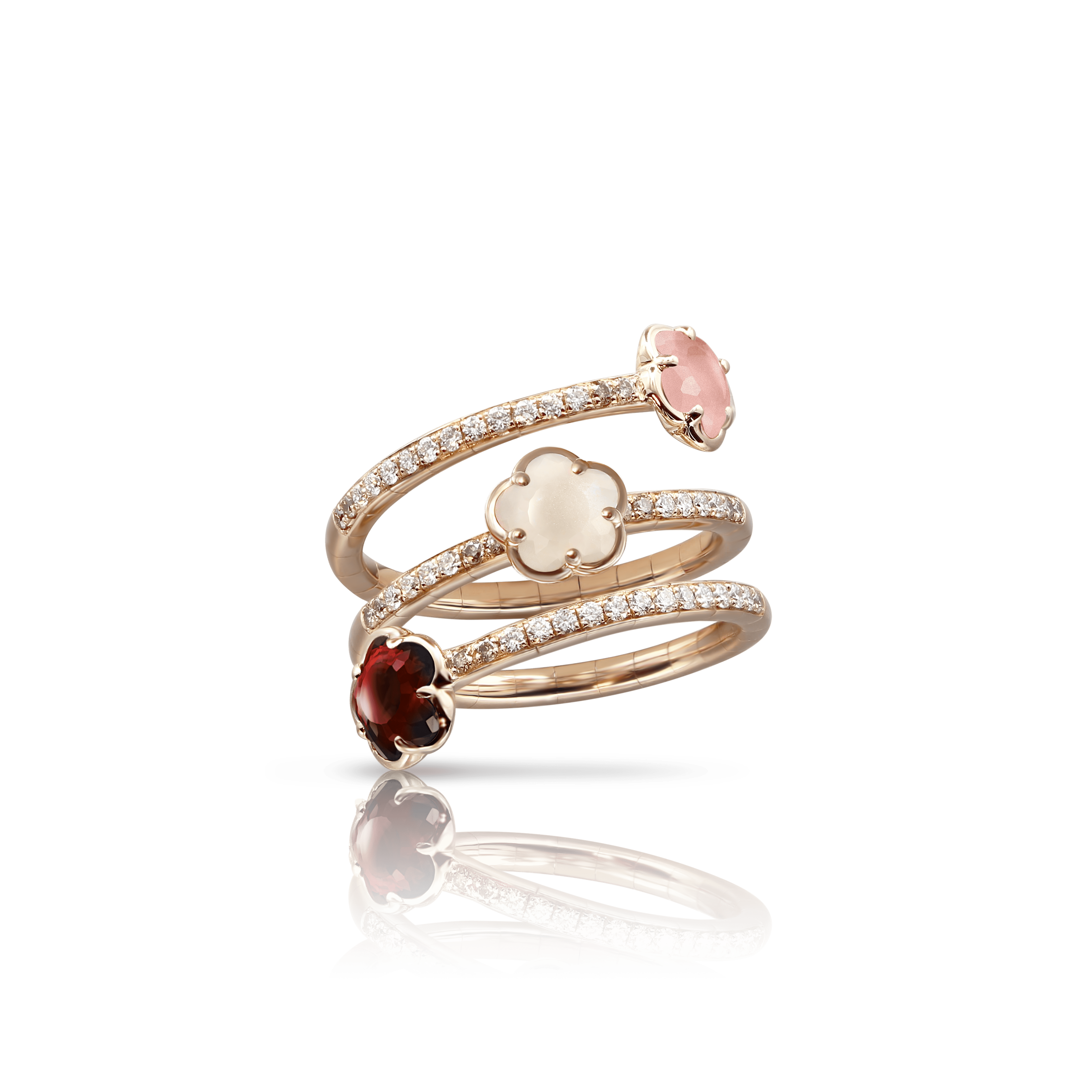18k Rose Gold Figlia dei Fiori Ring with Pink Chalcedony, Red Garnet, Moonstone, White and Champagne Diamonds