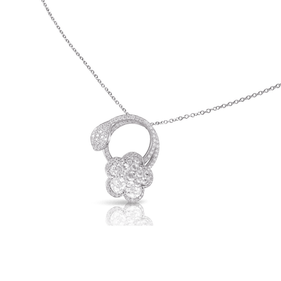 18k White Gold Je T'aime Necklace with Diamonds