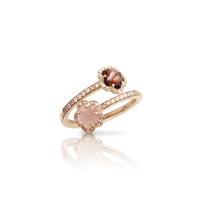 18k Rose Gold Figlia dei Fiori Ring with Pink Chalcedony, Red Garnet, White and Champagne Diamonds