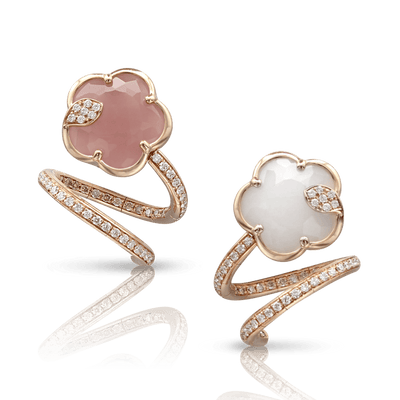 Rose gold earrings with white and champagne diamonds, pink chalcedony  and white agate and mother of pearl doublet