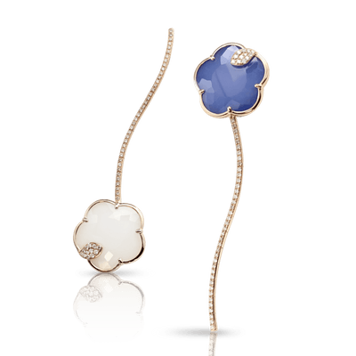 Rose gold earrings with white and champagne diamonds with white agate and lapis lazuli doublet and white agate and mother of pearl doublet