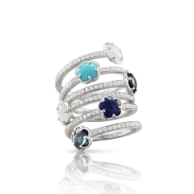 18k White Gold Figlia dei Fiori Ring with London Blue Topaz, Moonstone, Turquoise, Onyx, Lapis Lazuli and Diamonds