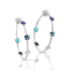 White gold earrings with white diamonds, mother of pearl, Lapis Lazuli, turquoise, onyx and London blue topaz