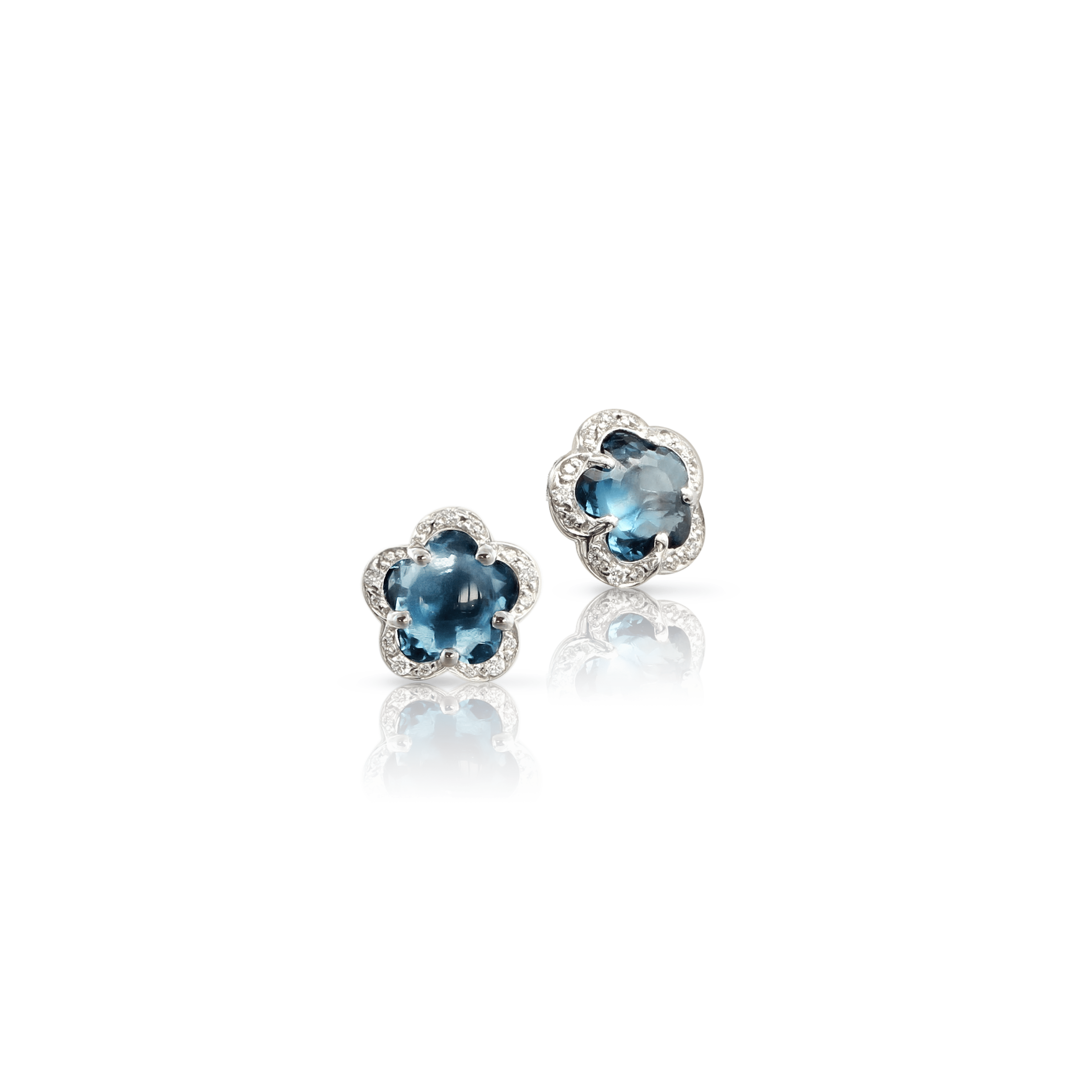 18k White Gold Figlia dei Fiori Earrings with London Blue Topaz and Diamonds