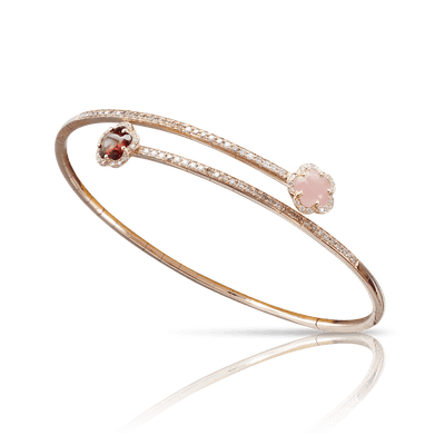 18k Rose Gold Figlia dei Fiori Bracelet with Pink Chalcedony, Red Garnet, White and Champagne Diamonds