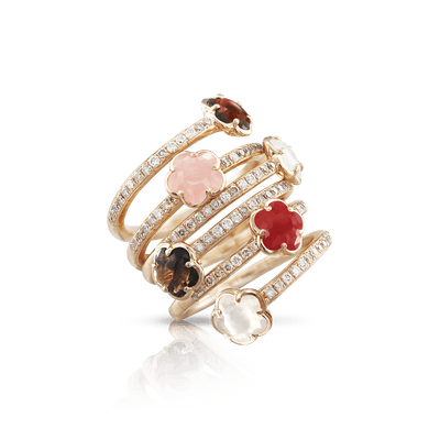 18k Rose Gold Figlia dei Fiori Ring with Pink Chalcedony, Red Garnet, Moonstone, Smoky Quartz, Carnelian, White and Champagne Diamonds