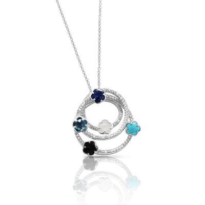 White gold necklace with white diamonds, mother of pearl, Lapis Lazuli, turquoise, onyx and London blue topaz