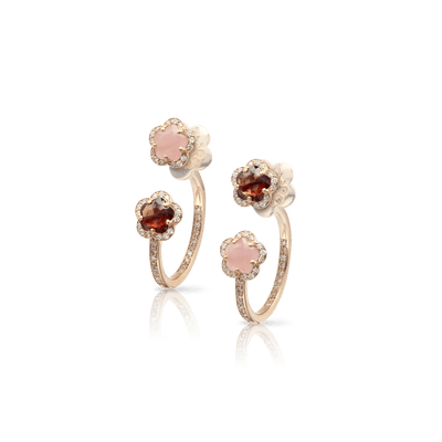 18k Rose Gold Figlia dei Fiori Earrings with Pink Chalcedony, Red Garnet, White and Champagne Diamonds