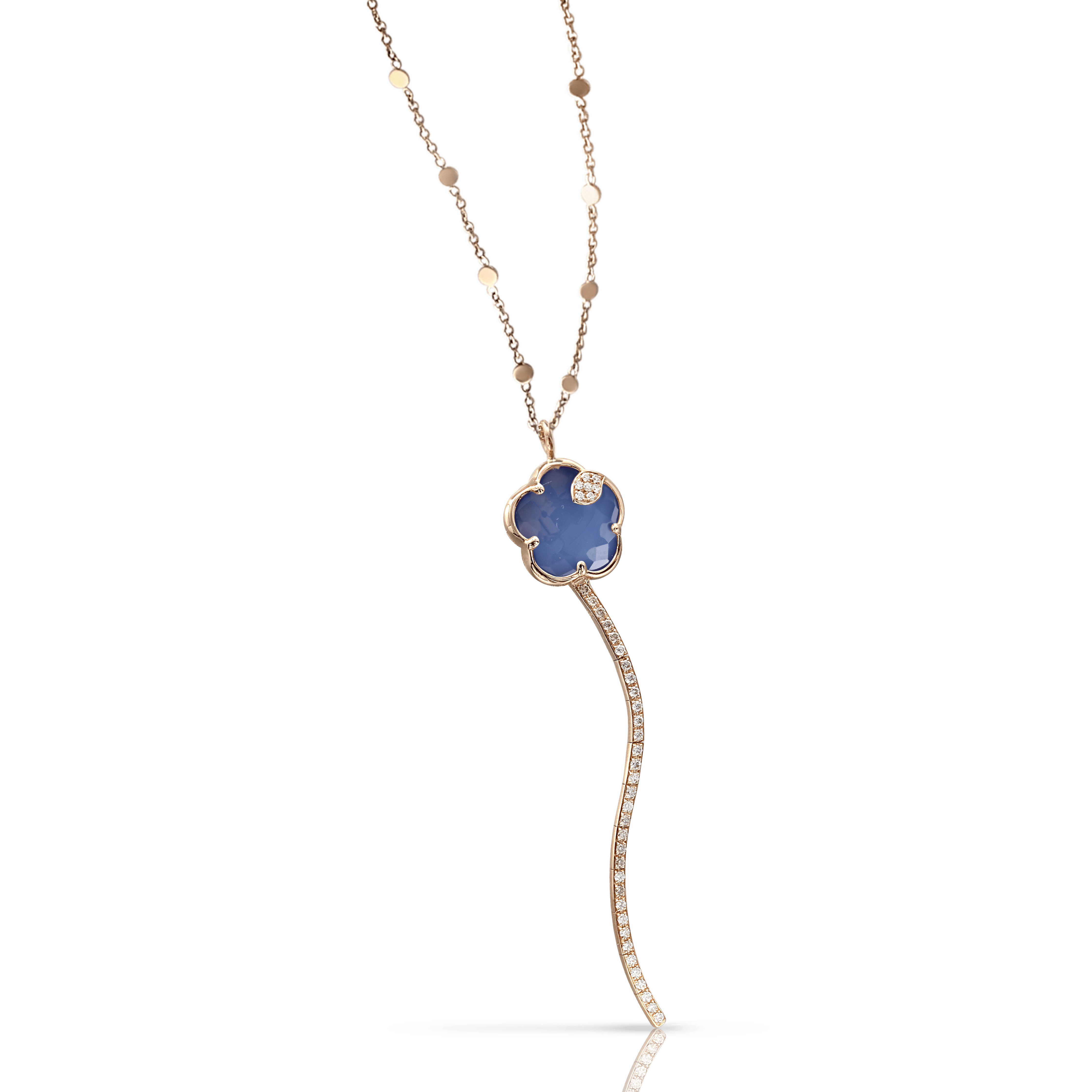 18k Rose Gold Joli Necklace with White Agate and Lapis Lazuli Doublet, White and Champagne Diamonds