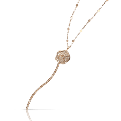 18k Rose Gold Joli Necklace with White and Champagne Diamonds