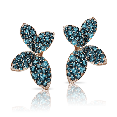 18k Rose Gold Segreti di Luna Earrings with London Blue Topaz and Diamonds