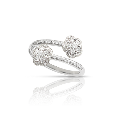 18k White Gold Figlia dei Fiori Ring with Diamonds