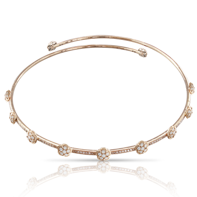 NEW 18k Rose Gold Figlia dei Fiori Choker with White and Champagne Diamonds