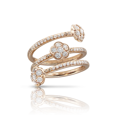 18k Rose Gold Figlia dei Fiori Ring with White and Champagne Diamonds