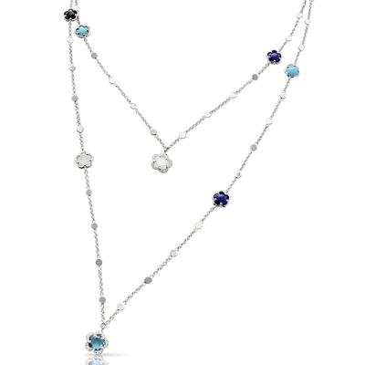 18k White Gold Figlia dei Fiori Necklace with Moonstone, Lapis Lazuli, Turquoise, Onyx, London Blue Topaz and Diamonds