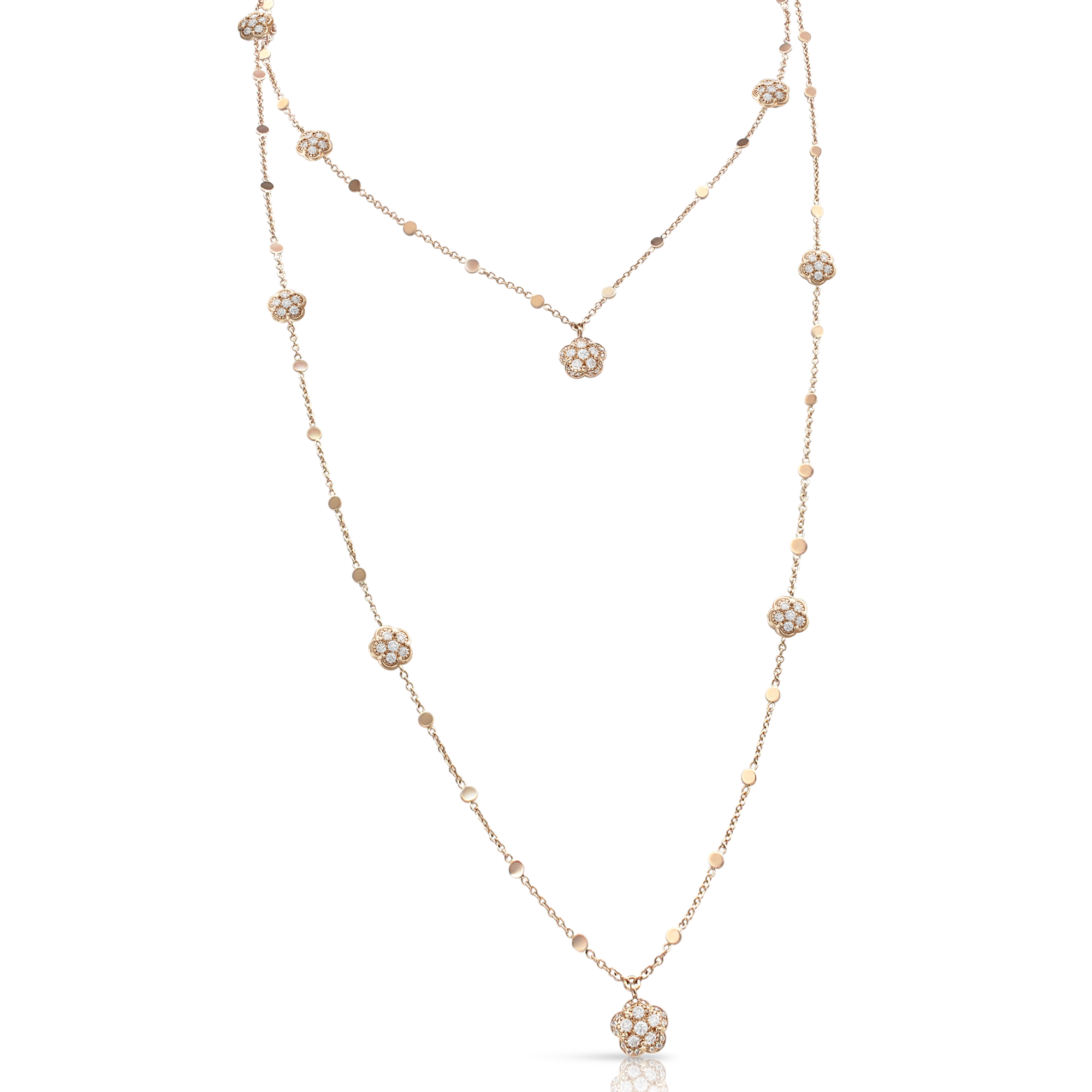 NEW 18k Rose Gold Figlia dei Fiori Necklace with White and Champagne Diamonds