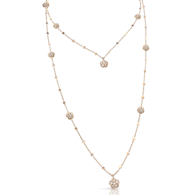18k Rose Gold Figlia dei Fiori Necklace with White and Champagne Diamonds
