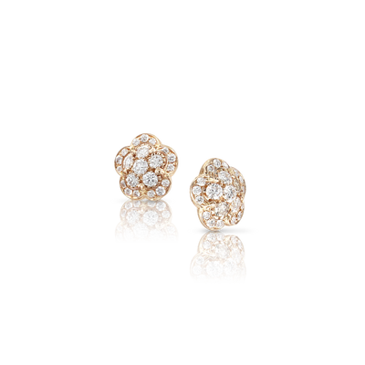 18k Rose Gold Figlia dei Fiori Earrings with White and Champagne Diamonds