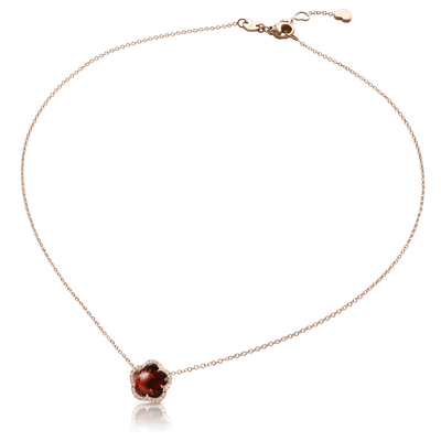 18k Rose Gold Je T'aime Necklace with Red Garnet and Diamonds